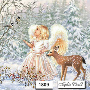 (1809) TWO Individual Paper LUNCHEON Decoupage Napkins - WINTER ANGEL CHRISTMAS