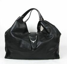 New Gucci Black Soft Calf Leather Large 'Stirrup' Hobo Bag Handbag 296855 1000