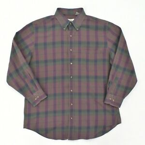 VINTAGE Viyella Button Down Shirt Adult L Large Purple Plaid Wool Blend Pocket