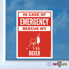 In Case of Emergency Rescue My Boxer Sticker Die Cut Vinyl - #2 dog safety v2