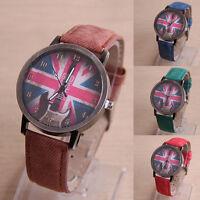 Retro Gitarre Britische Flagge Muster Damen Leder Uhr Quarz Armbanduhr Schön