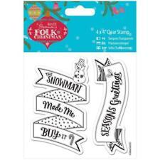 Papermania Folk Navidad Sello de Goma Transparente Set of2 Temporadas Saludos & Muñeco De Nieve
