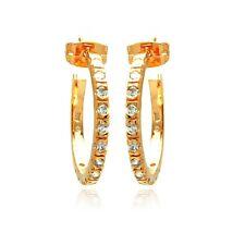 Sterling Silver Rose Gold Plated CZ Stones Hoop Stud Earrings