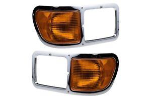 2000-2014 Ford F650 F750 Turn Signal Light Corner Parking Lamps Chrome Bezel OEM