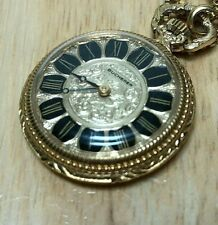 Vintage Bucherer Swiss Lady Gold Tone Hand-Winding Necklace Pendant Watch Hours
