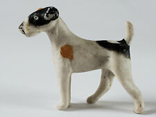 Germany Bisque Dollhouse Miniature Wire Fox Airedale Terrier Dog 1 3/4 by 2 Inch