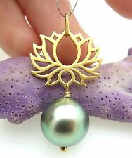 GORGEOUS AAA TAHITIAN 11.8mm SILVER GREEN PEACOCK CULTURED PEARL PENDANT LOTUS