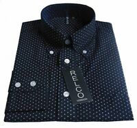 Navy Pindot Polka Dot Men's Shirt Vintage Design -100% Cotton Relco size S-3XL
