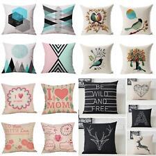Flowers Geometric Linen Pillow Case Throw Cushion Cover Home Sofa Decor Novelty