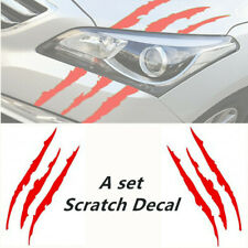 2pc 38cm Red Car Headlamp Vinyl Eye Catching Claw Marks Scratch Decal Waterproof
