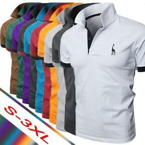 New Men's Slim Fit Shirts Short Sleeve Casual Gol T-Shirt Chic Jersey Tops Tee