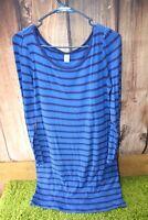 Old Navy Medium Blue Stripe Fitted Long Sleeve Women's Dress