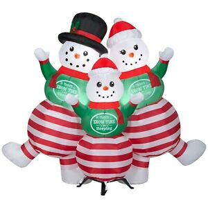 5 FT Lighted Inflatable Snowman PJ Family Outdoor Yard Decoration
