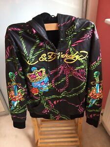 ED HARDY By Christain Audigier Leather Hooded Jacket size M Men