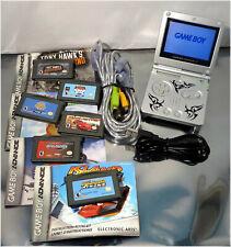 NINTENDO Game Boy Advance SP Silver, AGS-001 w/ Games, Link Cable, Bundle