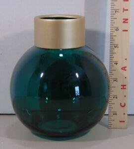 Green Round Jo-Anne Glass Vase Gold Metal Top