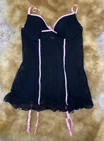 Nice black pink Camisole & garter Top sleepwear nightwear size S