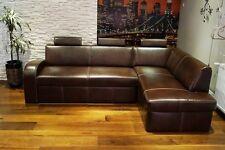 Echtleder Ecksofa 100% Echt Leder + Kopfstützen  Sofa Couch mit Schlaf Funktion