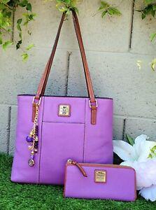 Dooney & Bourke 2 pc lexington Orchid tote wallet shoulder bag purse leather