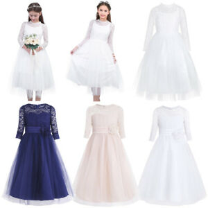 Kids Girls Lace Flower Party Dress Wedding Bridesmaid Princess Gown Formal Dress