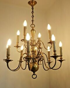 Very Impressive Large Vintage Flemish Chandelier With 12 Lights Over Two Tiers