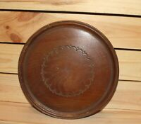 Vintage hand made turned wood round serving tray platter