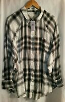 American Eagle Shirt Long Sleeve Button Front Oversized Fit Plaid Size Large New
