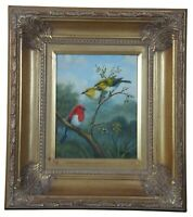 Vintage American Robin Oil on Canvas Painting Signed Sanje Gold Frame 18""