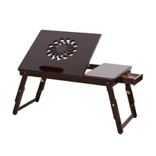 Popular Foldable Notebook Laptop Desk Natural Bed Table Stand Tray w/Drawer New