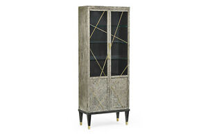 Geometric Dark French Oak Display Cabinet by Jonathan Charles - MODERN