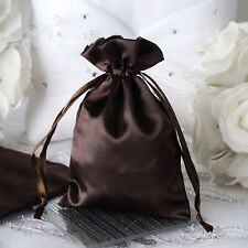 "12 pcs 4x6"" Chocolate Brown Satin Favor Bags Wedding Party Reception Gift Favors"