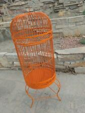 56 in Tall Antique Metal Orange Painted Heavy Bird Cage