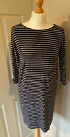 The White Company Stripe  Tunic Dress Easy Care Front Pockets Black Grey