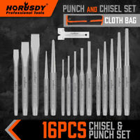 16PC Punch and Chisel Set Taper/Pin/Center Punch Cold Chisels With Cloth Bag H-H
