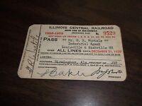 1958-1959 ILLINOIS CENTRAL RAILROAD EMPLOYEE PASS