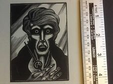 Expressionist Wood Engraving print by Lynd Ward of a male face