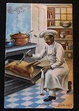 Black Americana~Chef Cooks Turkey~Antique Thanksgiving Postcard--s101