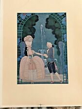 GEORGE BARBIER POCHOIR 1928 FETES GALANTES FRENCH GOUACHE RARE
