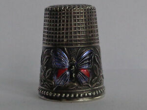 Superb Vintage 925 Sterling Silver Thimble with Enamel Decoration