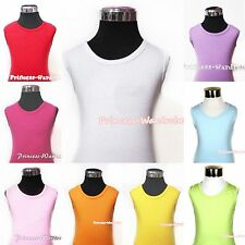 Plain Style Cotton Pettitop Tank Top Shirt Vest For Baby Kids Child Girls 1-8Y