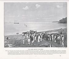 1897 VICTORIAN PRINT ~ SHORE END CABLE TO AUSTRALIA PORT DARWIN ~ PLUS TEXT