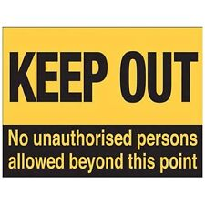 Keep Out, Warning No Entry, Work Unauthorised Access, Door, Small Metal/Tin Sign
