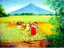 Harvest Amidst Volcano Art Philippines Oil Painting