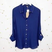 NWT Stitch Fix Shirt Size Medium M Blue Button Down Long Sleeve Roll Tabs Collar