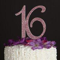 Pink Sweet Sixteen 16 Birthday Number Cake Topper - Rhinestone 16th Decoration
