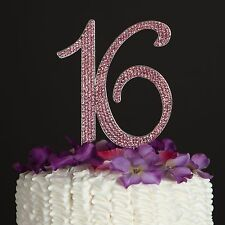 Pink Sweet Sixteen 16 Birthday Number Cake Topper - Rhinestone 16th Decoration