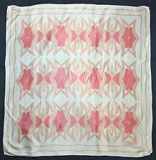 "Turkish TEKBIR Designer PINK White GEOMETRIC Hand Rolled Satin Silk 33"" Scarf"