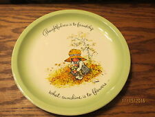 """1972- Holly Hobbie Collectible Plate """" Thoughtfulness is to friendship """""""