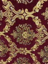 Burgundy Gold Brown Damask Chenille Upholstery Brocade Fabric (54 in.) Sold Bty