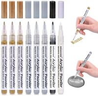 Acrylic Paint Pens 8 Pack 0.7mm Gold and Silver Metallic Permanent Markers